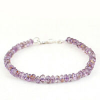 50.00 Cts Earth Mined Amethyst 8 Inches Long Round Faceted Beads Bracelet (RS)