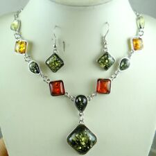Precious Modernist COGNAC YELLOW GREEN PRESSED AMBER earrings NECKLACE set P41