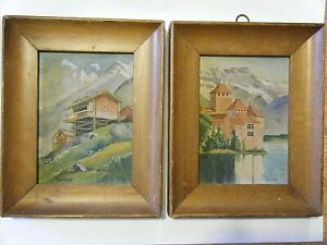 Vintage Pair 1920s Framed Original Alpine Paintings Signed Bendix Gouache