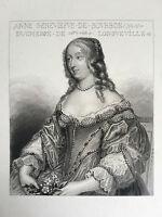 Gravur Porträt Anne Geneviefve Rohrfeder Duchesse von Longueville XIX