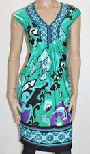 CAPTURE Designer Green Printed V Neck Sleeveless Day Dress Size 8 BNWT #sN21