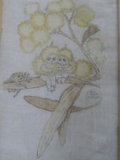 FRAMED HAND STICTCHED MAY GIBBS SNUGGLE POT & CUDDLE PIE LINEN HANDKERCHIEF   ..