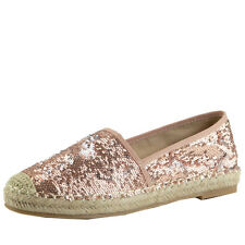 New Women Crochet Toe Espadrille Heel Slip On Sequin Loafer Flat Ballerinas Shoe