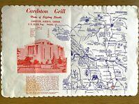 1960s CARDSTON GRILL vintage placemat ALBERTA, CANADA Mormon Temple