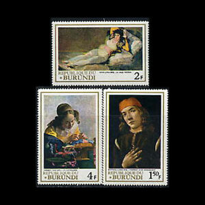 Burundi, Sc #233-35, MH, 1968, Paintings, Botticelli, Vermeer, AR6TD-B