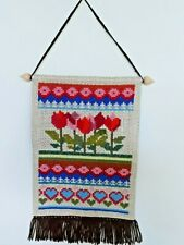 Swedish embroidered heart and floral tapestry