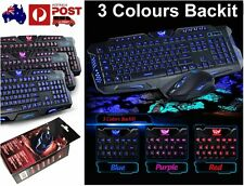 Multimedia Ergonomic Cool LED Three Color Backlight USB Game Keyboard + Mouse HQ