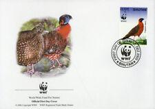 WWF  UCCELLI  FDC BHUTAN BUSTA PRIMO GIORNO 2003 FAGIANI 4/4