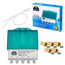 1x DiSEqC 4/1 Schalter SAT Switch 4x1 Verteiler 4 in 1 Umschalter + F-Stecker HD