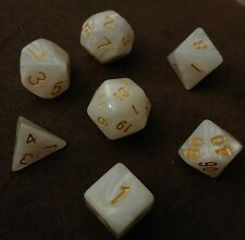NEW 7 Piece Polyhedral Dice Set - White Marble - RPG Game D&D