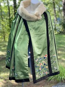 EDWARDIAN SILK CAPE MADE FROM EMBROIDERED CHINESE SKIRT & FUR COLLAR
