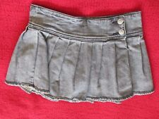 GIRLS GREY ROXIE PLEATED DENIM SKIRT SKORT W/ BUILT IN SHORTS UNDERNEATH SIZE 14
