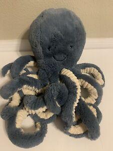 "Jellycat London Inky Octopus Plush Toy Stuffed Animal Blue Medium 16"" size"