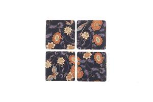 Set 4 French Shabby Chic Ceramic Tile Coasters Purple Flower Design FREE POST