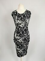 Oasis Black White Tropical 80s Stretch Party Holiday Bodycon Dress Size xs