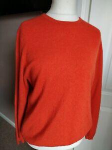 Gorgeous Lochmere Pure Cashmere Rust Orange Round Neck Jumper Size XL