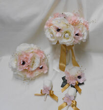 Wedding Silk Flower Bridal Bouquet 18 pieces Package Ivory Pink Blush Rose Gold