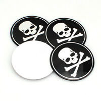 4x 56mm Vehicle Car Wheel Emblem Hub Center Caps Cross Bone Skull Logo Sticker