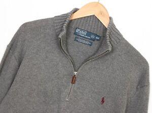 POLO by RALPH LAUREN Zip Neck Grey Knit Cotton Jumper Sweater Men Size XL