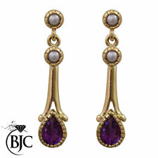 Pearl Drop/Dangle Amethyst Fine Gemstone Earrings