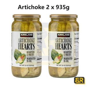 Kirkland Signature Artichoke Hearts 2 x 935g  Marinated Oil Jar Low Carbs Vegan