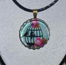 "Pendant Necklace - ""Vintage Birdcage"" on a black string necklace JoMacDesigns"