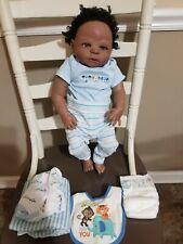 "Full Body Silicone Vinyl 20"" Baby Doll boy black Reborn Anatomically Correct"