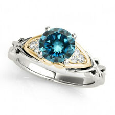 0.83 Ct Fancy Blue Diamond SI2 Solitaire Anniversary Ring Classy 14k WG&YG