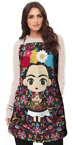 Designer Frida Apron for Women- Mexican cute Kitchen cooking baking gardening