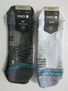 Stance Mens Athletic Golf FEEL 360 Nylon Blend Mid Cushion Tab Socks Nwt