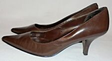 MICHAEL SHANNON, LADIES BROWN LEATHER HIGH HEELS, SIZE 6 M.