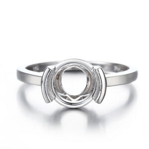 UNIQUE RING ! ENGAGEMENT SEMI MOUNT FINE RING SOLID 10K WHITE GOLD 9MM ROUND CUT