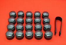 NEW! AUDI ALL MODELS BOLT WHEEL NUT COVERS CAPS 17mm DARK GREY ROUND TYPE COVER