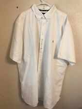 Men's RALPH LAUREN Classic Fit White Short Sleeve Button Down Shirt (Size: 3XLT)
