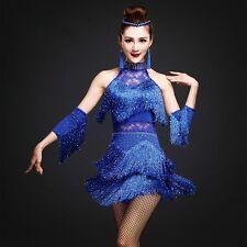 Latin Salsa Cha Cha Tango Ballroom Dance Costume Dress Skirt Fringe Rumba Sexy