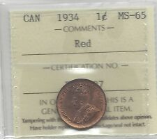 **1934**, ICCS Graded Canadian, Small One Cent, **MS-65**