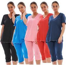 Ladies Cropped Pyjama Set Short 100%Cotton Polka Dot Print V-Neck Capri Soft PJs