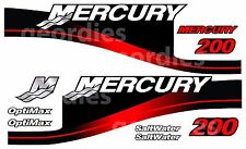RED MERCURY 200 OUTBOARD OPTIMAX MOTOR PRINTED STICKERS KIT ENGINE