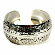 SILVER TONE METAL CUFF FILIGREE Nepal Tibetan Gypsy Style NEW Bangle Bracelet