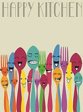 HAPPY COLOURFUL CUTLERY KITCHEN FOOD PHOTO ART PRINT POSTER PICTURE BMP1960A
