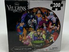 """Factory Sealed Disney Circle of Villains 18"""" Round Jigsaw Puzzle 200 Pieces"""