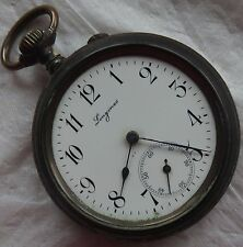 Longines pocket watch open face gun case enamel dial balance broken