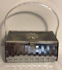 Vintage Lucite And Metal Handbag W/ Engraved Flower Design Top