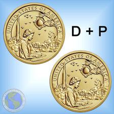 """2x 1 $ Dollar USA 2019 """" Native American - US Raumfahrt """" ## Set Mint D + P"""
