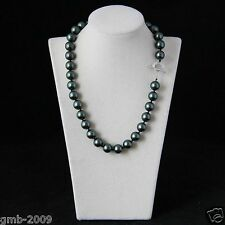 Huge 12mm Real Genuine Black Round South Sea Shell Pearl Necklace 18'' AAA+