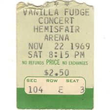 Vanilla Fudge & Tsu Toronadoes Concert Ticket Stub San Antonio Tx 11/22/69 Rare