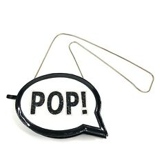 Kate Spade POP Bag Black White Patent with Glitter Letters POP! Patent Leather
