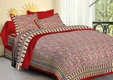 Indian Sanganeri Hand Block Print Pure Cotton King Bed Sheet Two Pillow Covers
