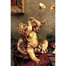 Baroque BOY w TRUMPET CHERUB STATUE Italian Gold Look Angel Sculpture Gift Horn