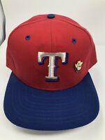 Vintage Texas Rangers Snapback Hat 90s New Era Pro Model MLB Red/Blue Pin